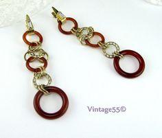 Vintage Earrings Rhinestone Ringed Hoop Art Deco by Vintage55, $22.00