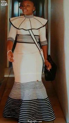 Modern Xhosa traditional dresses for african women's - Fashionre African Wedding Dress, African Print Dresses, African Print Fashion, African Fashion Dresses, African Dress, African Prints, Fashion Outfits, Fashion Tips, Xhosa Attire