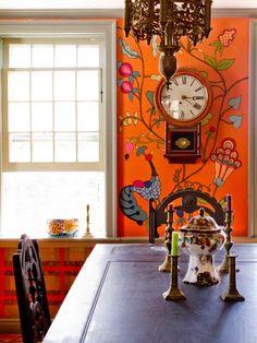 kristin nicholas's Eclectic Farm House at houzz.com (Didn't think I'd like an orange wall...)