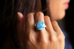 Larimar Turtleback Round Ring | Authentic Larimar Jewelry handfcrafted in Dominican Republic