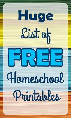 Huge Round-up of Free homeschooling printable!