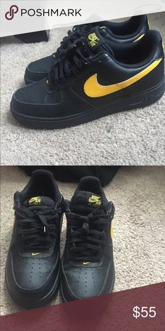 1d6ef32016be Nike Air Force one Black   yellow Size 10 9 10 condition  slight creasing