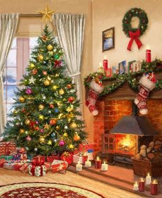 Christmas Scenery, Cosy Christmas, Christmas Artwork, Christmas Past, Merry Christmas And Happy New Year, Christmas Wallpaper, Christmas Images, Christmas Wishes, Beautiful Christmas