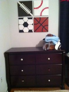Exceedingly Blessed: Baby Room Paintings - Sports balls painted on square canvas - Very clever and adorable!!