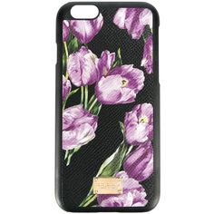 Dolce & Gabbana I-Phone 6 Cover With Tulip Print ($195) ❤ liked on Polyvore featuring accessories, tech accessories, phone and black