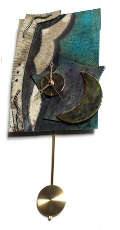 Beautiful One of a Kind Raku Wall Clock with by Jarjourpottery