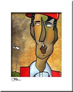 Être la balle - Original peinture abstraite moderne pop Art print portrait coloré contemporain face golf décor par Fidostudio