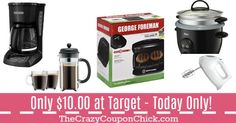 HOT! Small Kitchen Appliances Including George Forman, Black & Decker & More ONLY $10 at Target! Target Deals, George Foreman, Small Kitchen Appliances, Drip Coffee Maker, Hot, Black, Black People, Coffee Making Machine