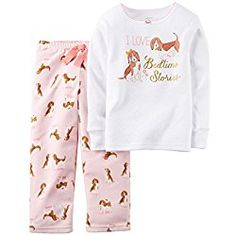 adb2c3cd7d Carter s Little Girls 2 Piece Cotton Fleece Pajamas -Dogs Pink Carters Baby  Girl
