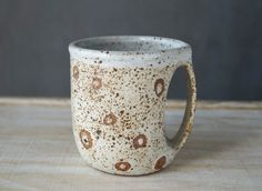 Handmade Ceramic Mug, Unique Hand-Finished, Wheel Thrown Coffee Mug, Rustic Speckled White Glaze, Great Gift Idea. by SevaArt on Etsy