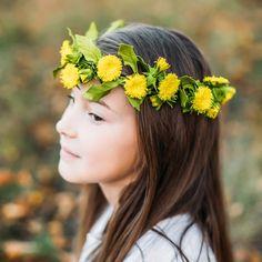 Floral hair crown with dandelions. Hair Crown, Man And Wife, Dandelion Flower, Beltane, Crown Hairstyles, Floral Hair, Dandelions, Blossom Flower, Bridal Headpieces