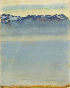 Ferdinand Hodler.  Lac de Thoune avec le Niesen  [Swiss Art Nouveau Painter, 1853-1918]