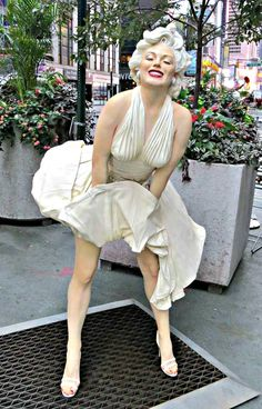"""Forver Marilyn,"" sculpture by Seward Johnson, on the Broadway Pedestrian Mall, New York City. June 27, 2015."