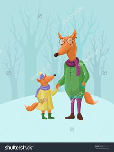 Vector card with funny cartoon fox. Mom and baby fox holding hands, walking. Winter card