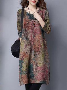 Shop Dresses - Multicolor Printed Long Sleeve Plus Size Dress online.  Discover unique designers fashion 790b5d125c1