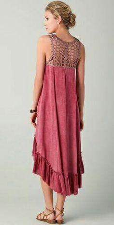 Crochet Yoke, Crochet Blouse, Knit Dress, Dress Skirt, Crochet Clothes, Diy Clothes, Clothes For Women, Curvy Fashion, Boho Fashion