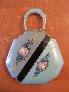 Antique 1920s 1930s Art Deco Style Ladies Blue Gray Floral Enamel Compact   eBay