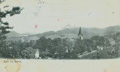 """Buskerud fylke Hurum kommune . """"Parti fra .."""" med kirken og noen hus Utg Schibwigs Kortforlag tidlig 1900-tallet"""