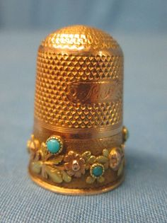 Antique 14k Gold and Turquoise Floral Decorated Victorian Thimble w Rose Gold   eBay