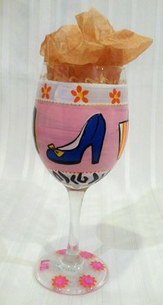 our hand-painted wine glass have pizzazz, designed for your shoe passion, they are perfect for any birthday or hostess gift and are personalized with name or monogram  #handpainted #birthday #wineglass #personalized