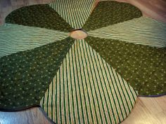 Holly & Stripe Christmas Tree Skirt in by MiladyCreations on Etsy, $59.00