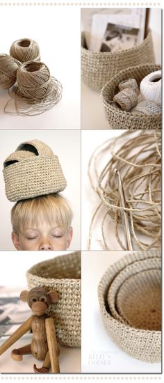 Crochet baskets made with twine