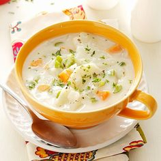 """Hearty Potato Soup Recipe -Having grown up on a dairy farm in Holland, I love our country life here in Idaho's """"potato country."""" My favorite potato soup originally called for heavy cream and bacon fat, but I've trimmed down the recipe. —Gladys DeBoer, Castleford, Idaho"""