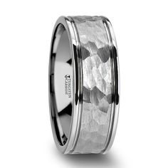THORNTON Hammered Finish Center White Tungsten Carbide Wedding Band with Dual Offset Grooves and Polished Edges - 8 mm