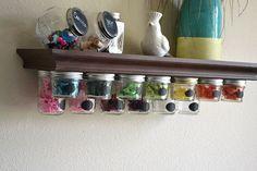 mason jar storage shelf idea, crafts, mason jars, organizing, shelving ideas, storage ideas