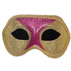 Our Masquerade Mask Standee features a purple and gold glittery Mardi Gras mask with white string lights. The cardboard Masquerade Mask Standee measures 3 feet 6 inches high.