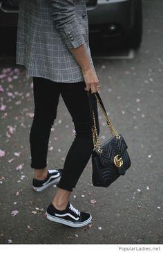 Plaid blazer, black pants, Vans and bag