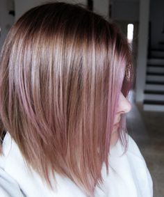 strawberry blonde, dusty pink hair, pastel pink bob, rose gold hair