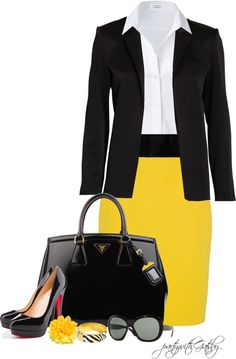 Fall fashion- Classic pencil skirt but in bright yellow with crisp white blouse and tailored black blazer and patent leather high heels & purse.
