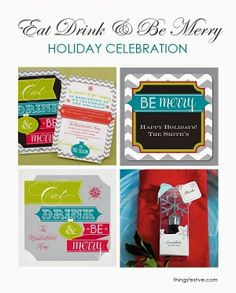 Holiday Party Theme: Eat, Drink & Be Merry. #holiday #Christmas #party #ideas #invitations #napkins #favors