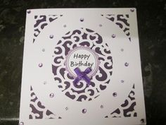 swirly 5x5 card 1 on Craftsuprint designed by Amanda Davis - made by Anne-marie wheeler - The file was cut on Craft Robo using 250gsm card. I added a purple shimmer paper backing added sentiment ribbon and gems a very quick easy card. - Now available for download!
