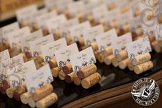 Wine cork wedding seating chart.