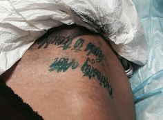 In the Tattoo chair  Curiosity Often leads to trouble text quote stencil