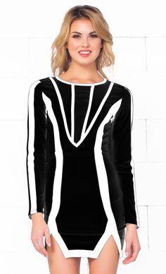 Indie XO Love Fool Black White Scoop Neck Long Sleeve Contrast Slit Hem Bodycon Mini Dress - Just Ours!