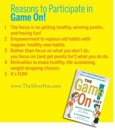 I'm having so much fun participating in the Game On! Diet! It's a fun way to indulge your competitive side w/ friends while working towards a common goal...getting healthy and loosing weight!