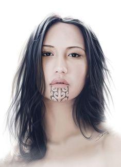 tatouage maori femme au visage et tattoo tribal traditionnel #maoritattoosface