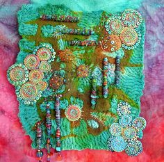 """""""I turn around""""  Nuno felt, bunting with cotton and merino wool, dyeing, textile beads, braids, by Cecile Meraglia"""