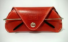 Handmade, red leather glasses / sunglasses case - For men or women