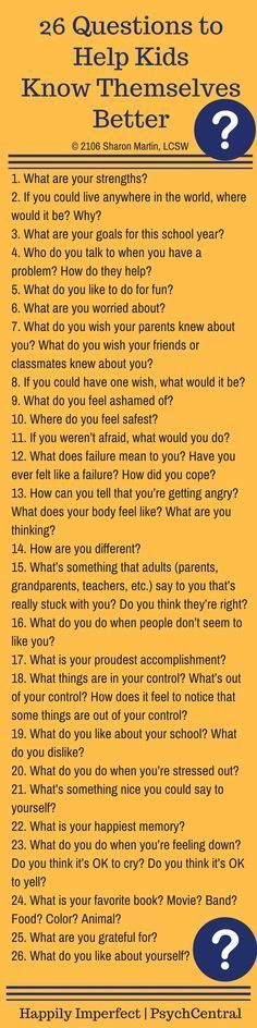 26 Questions to Help Kids Know Themselves Better - Love having a bank of questions.  I sometimes struggle to think of how to phrase something, etc.