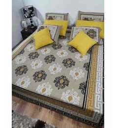 Heritage Fabs Desire Beige, Black Floral Double Bed Cover Set