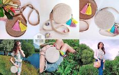 How to Make a Trendy Round Bag, фото № 8 Crochet Abbreviations, Crochet Stitches, Round Bag, Knitted Bags, Diy Crochet, Knitting Yarn, Jute, Straw Bag, Diy And Crafts