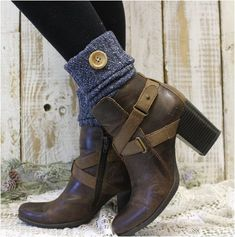Aspen Boot Cuffs - vintage blue, boot toppers, socks for booties
