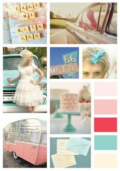 This retro red, mint, and pink board was inspired by vintage travel. Think Route 66.