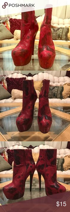 Selling this Red platform boots on Poshmark! My username is: leah2141. #shopmycloset #poshmark #fashion #shopping #style #forsale #freddy louis #Shoes