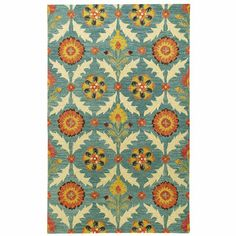 Teal Floral Rug - This would be fabulous in my living room!