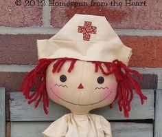 Primitive Raggedy Ann Nurse Doll with Bear pattern on Etsy, $5.50